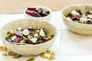 Coconut Ginger Roasted Kale with Beets, Farro, and Goat Cheese