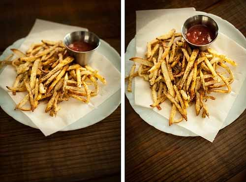 A collage of two photos showing various views of a batch of homemade baked French fries.
