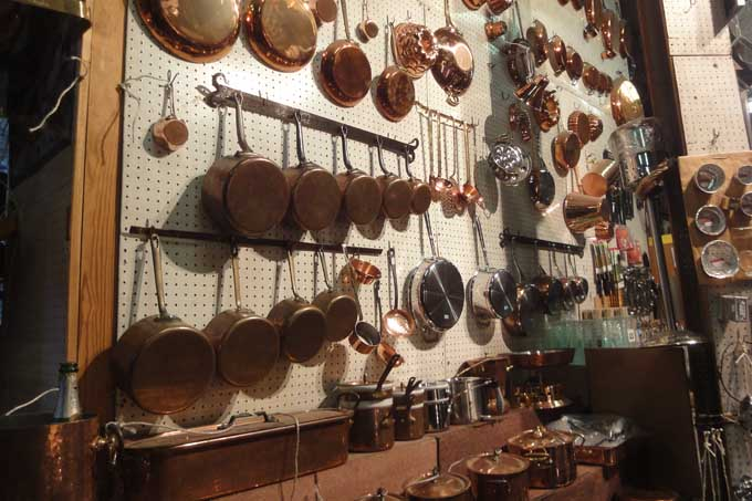 Inside of E. Dehillerin in Paris showing copper pots and pans
