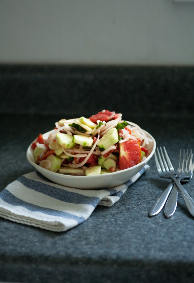 food loves writing cucumber tomato salad