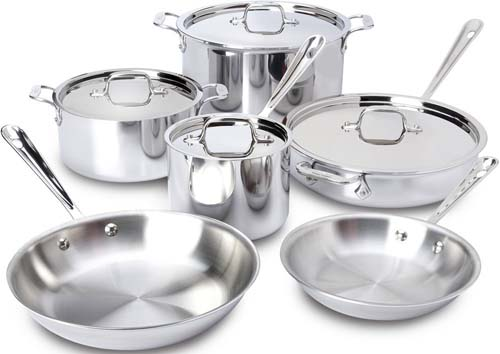 This All-Clad Tri-Ply Staineless Steel Ten Piece Set is about the best cookware you can buy for a wedding gift