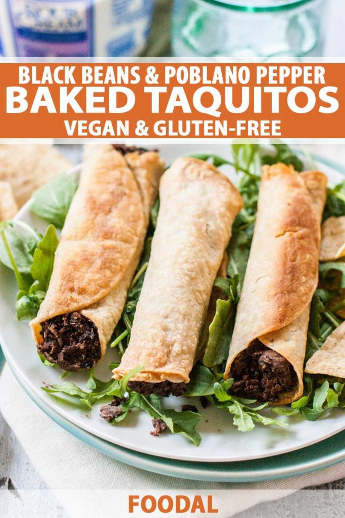 Oblique view of a three vegan and gluten-free black bean and poblano pepper baked taquitos on a white, dinner plate.