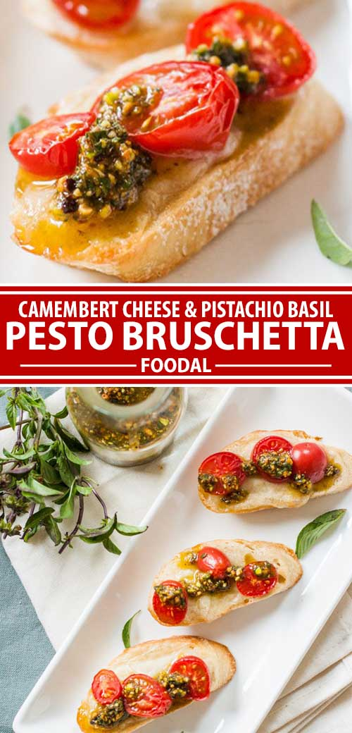 A collage of images showing different views of a bruschetta recipe made with French Camembert cheese and a pesto sauce made with pistachios.