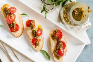 Camembert Cheese and Pistachio Basil Pesto Bruschetta