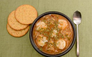 Shrimp Gumbo on a green background
