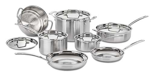 A lowerprice multicald set, the Cuisinart MCP-12N Multiclad Pro Stainless Cookware set would work well any newed couple's kitchen