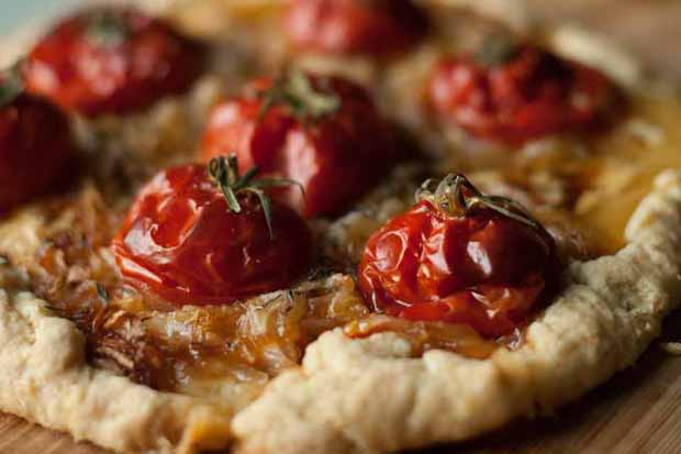 Close up of a Early Girl Tomato Tart in Spelt Crust.
