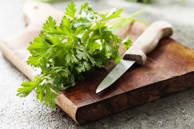 bunch of fresh parsley on a wooden board