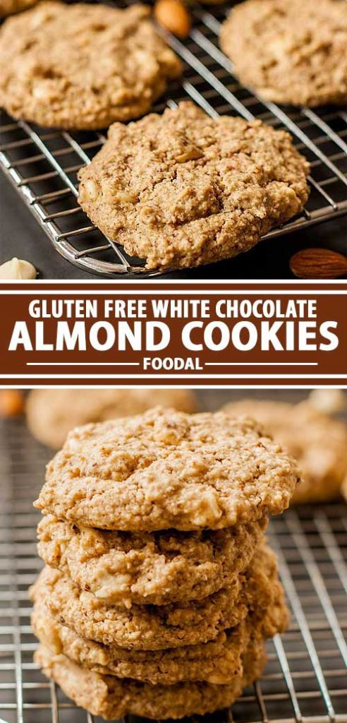 A collage of photos showing a gluten-free white chocolate almond cookie recipe.