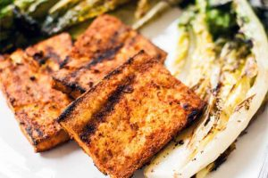 Charred Romaine with Paprika Marinated Grilled Tofu