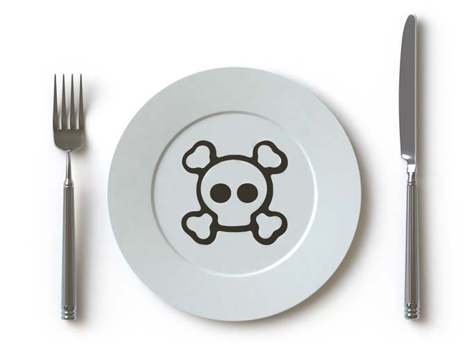 Plate with knife and folk on white background. Plate has a skull and crossbones on it representing toxicity in the kitchen
