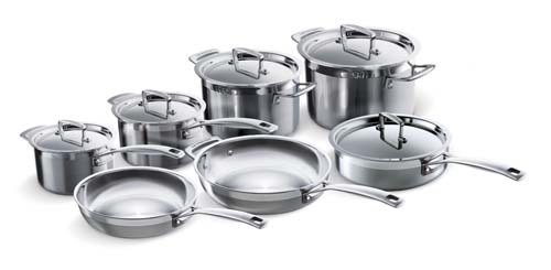 Le Creueset Tri-Ply Stainless Steel Set is a top end option for a wedding registry
