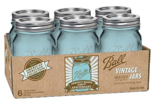 A box of ball hertiage quart small mouth mason jars