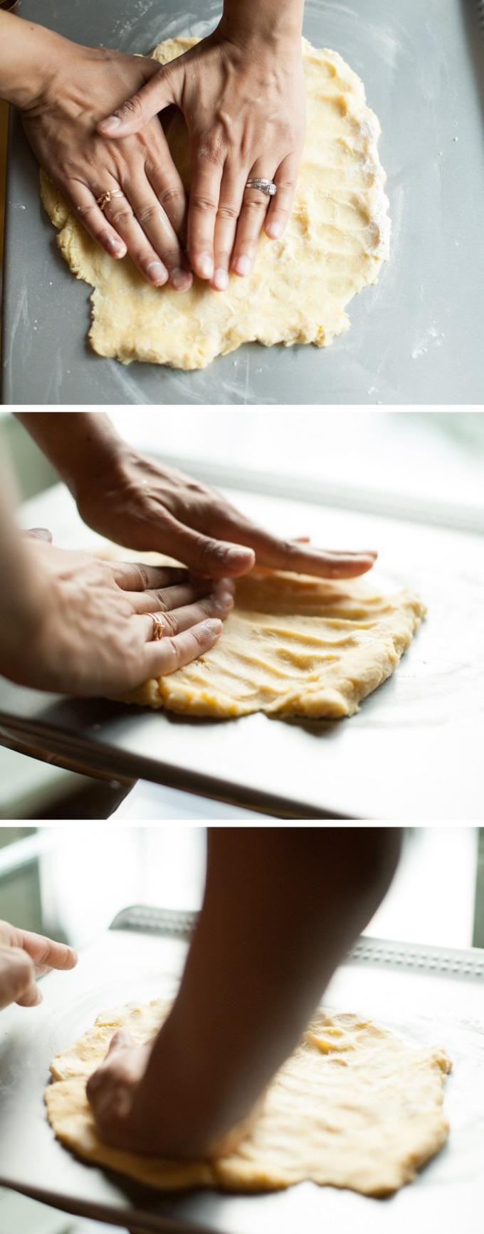 flattening dough