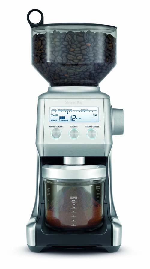 Breville BCG800XL Smart Grinder with hopper full of coffee beans on white isolated background