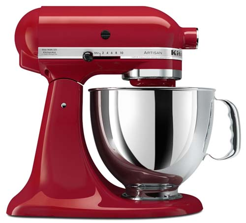 KitchenAid Artisan 5-Quart Stand Mixer in Empire Red color on isolated white background is a great example of a kitchen appliance to add to your wedding registry
