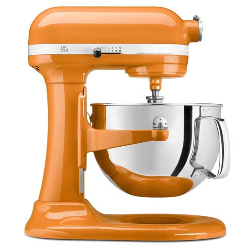 KitchenAid Professional 5 Plus series stand mixer in Tangerine color on isolated white background