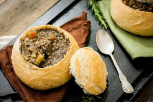 Lentil and Mushroom Soup in Sourdough Bread Bowls