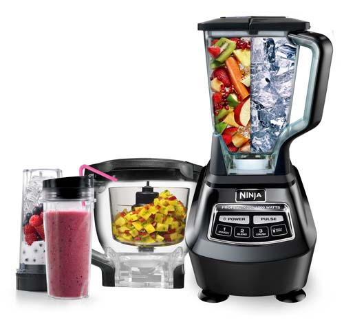 Ninja Mega Kitchen System Blender on white isolated background with accessories