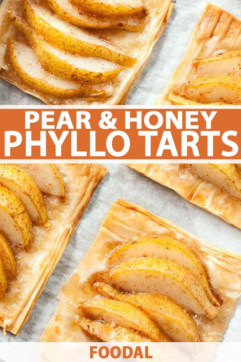 Top-down shot of four pear and honey phyllo tarts arranged at an angle to form a grid on a piece of white parchment paper, printed with orange and white text.