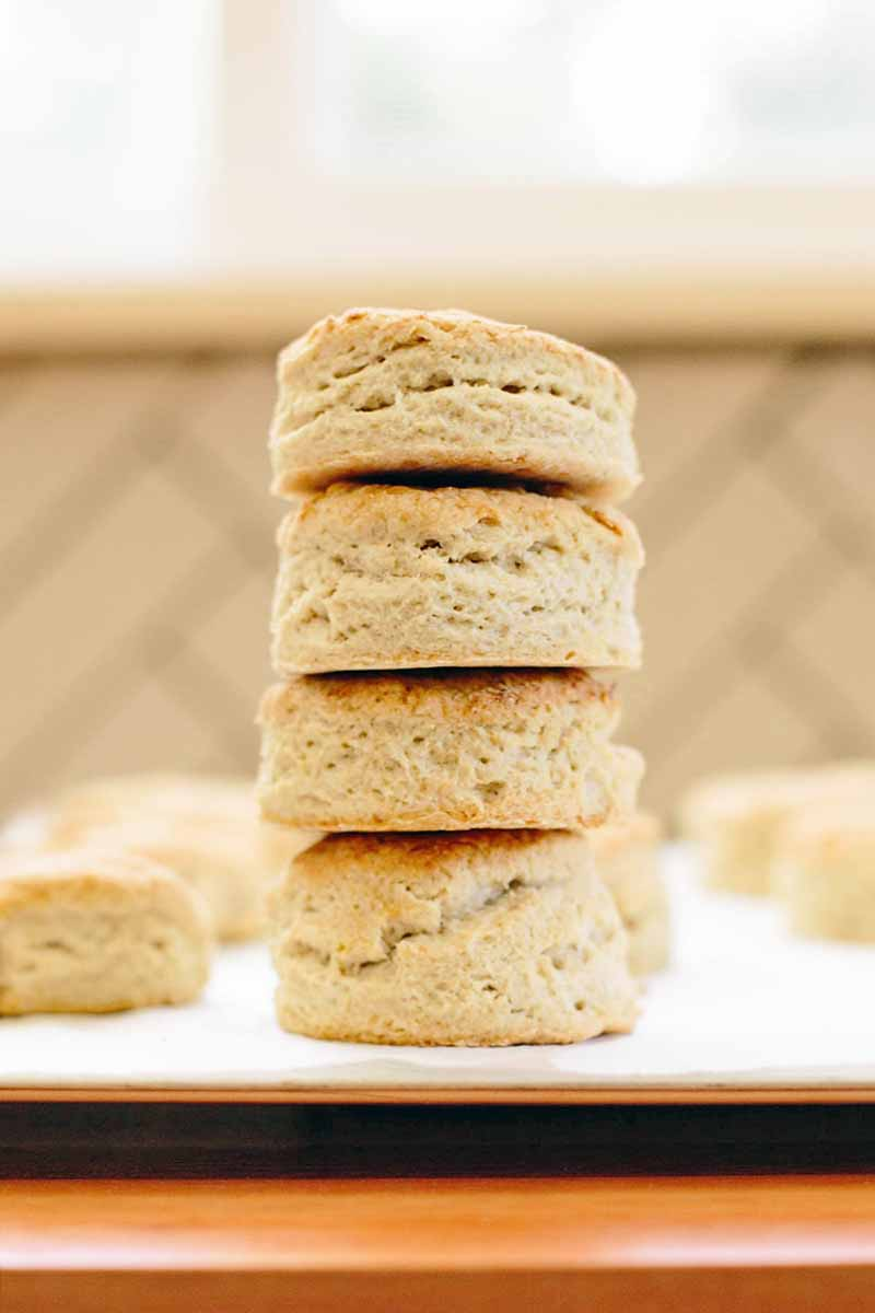 A stack of four homemade vegan biscuits on white parchment paper, with more in the background in soft focus, arranged in rows, against a beige tile backdrop, on a brown wood surface.