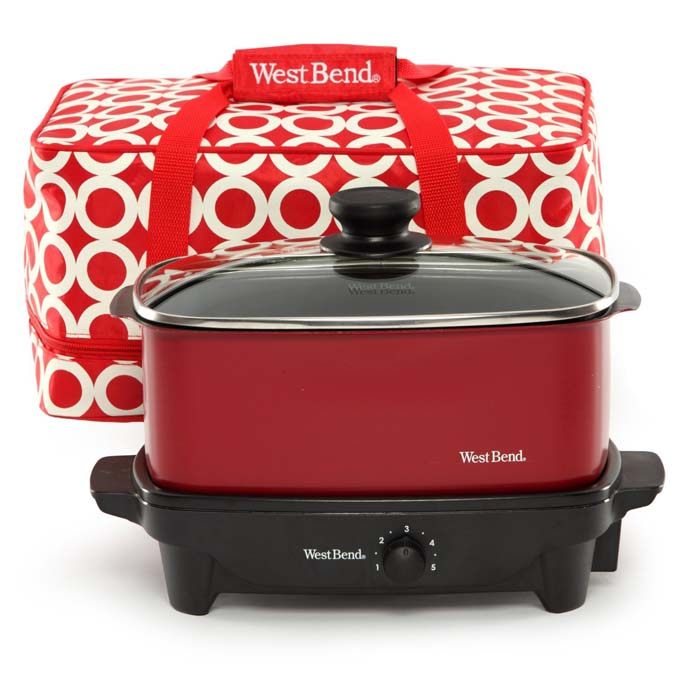 Westbend red slow cooker with insulated tote