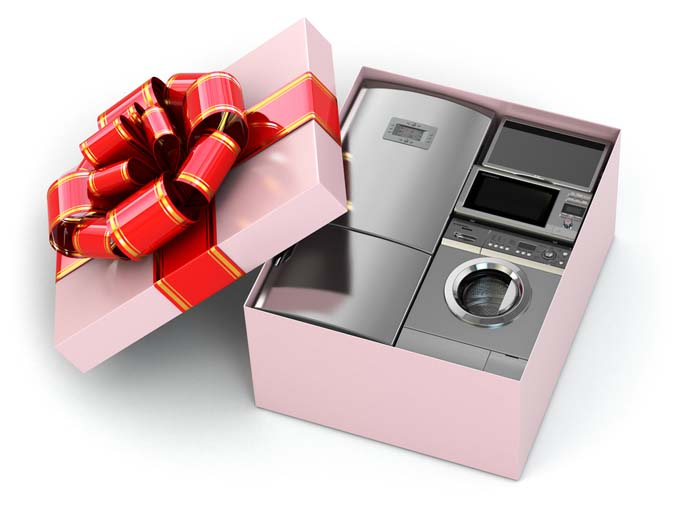 a gift box with a a refrigerator microwave toaster oven and other small kitchen - Best Appliances For Small Kitchens