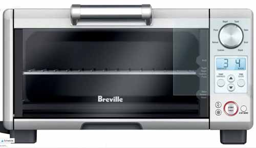 Front view of the Breville BOV450XL Mini Smart Oven on a white, isolated background