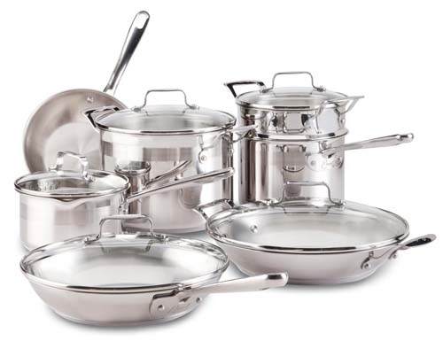 Emeril by All-Clad E884SC74 Chef's Stainless Steel Dishwasher Safe PFOA Free Cookware Set 12-Piece Silver