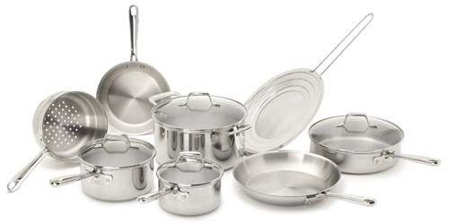 Emeril by All-Clad E914SC64 PRO-CLAD Tri-Ply Stainless Steel Dishwasher Safe PFOA Free Cookware Set 12-Piece Silver
