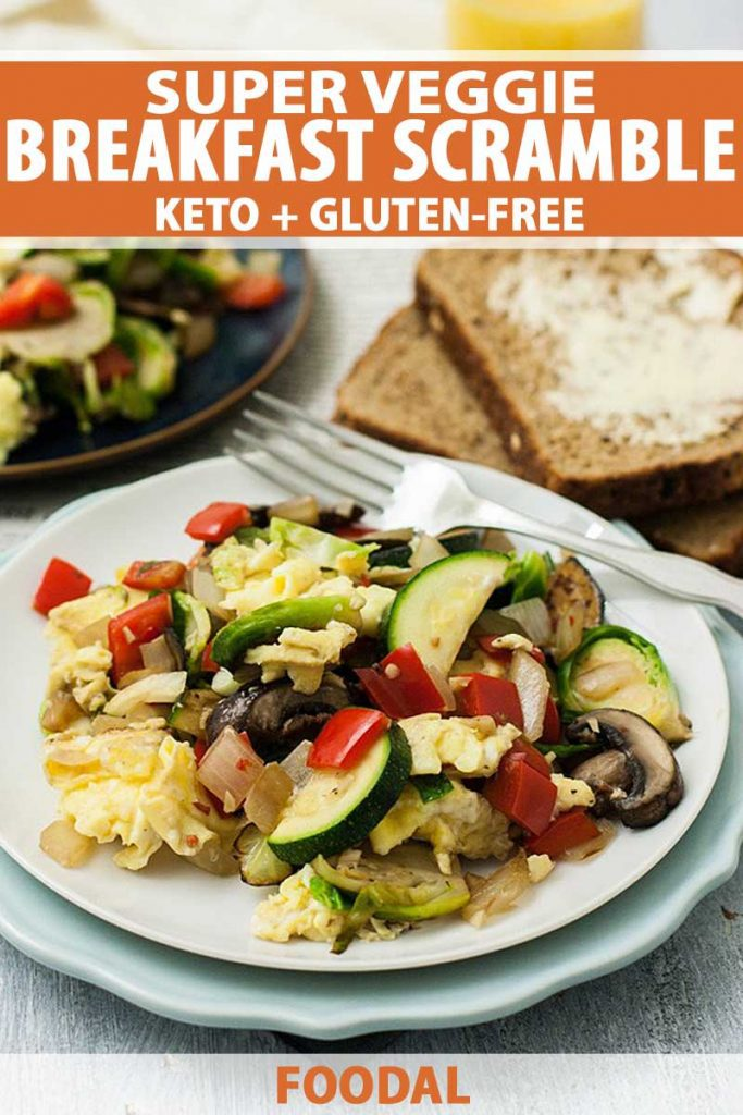 Close up of white, ceramic plate full of a healthy veggie breakfast that's gluten-free and Keto friendly.