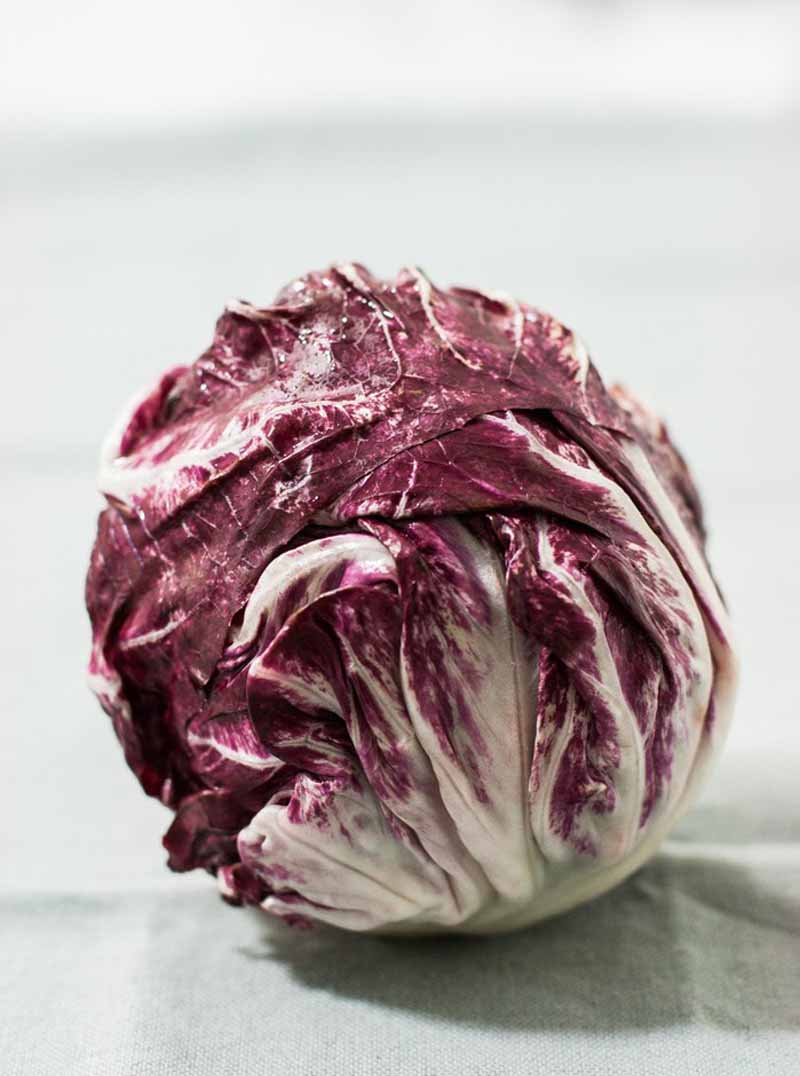 An entire head of red or maroon radicchio on a light background.