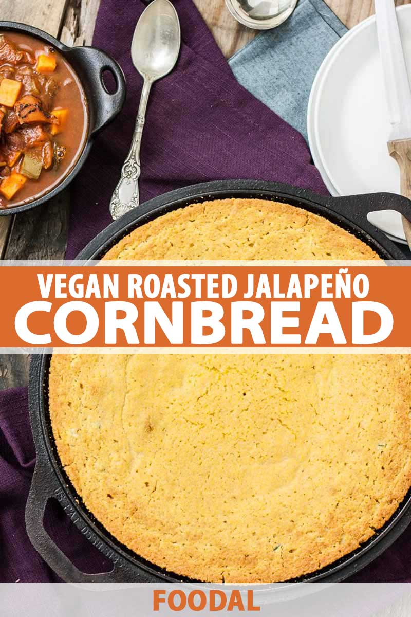 Top down view of a vegan roasted jalapeno cornbread made in a large cast iron skillet