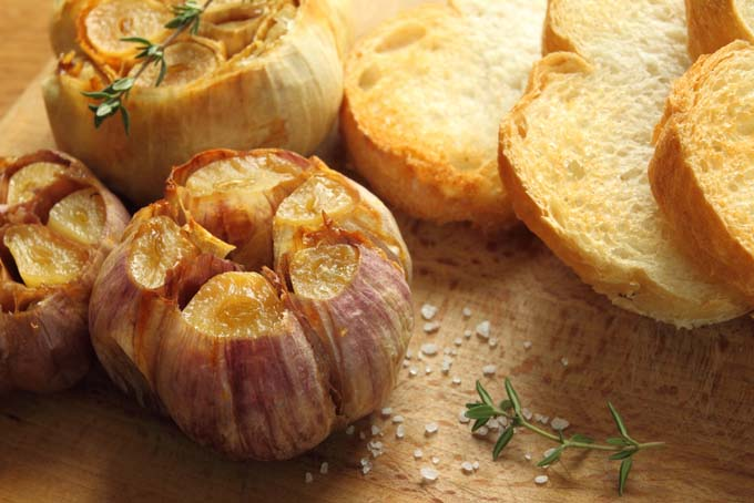 A whole roasted bulb of garlic with sliced up French bread - Foodal.com