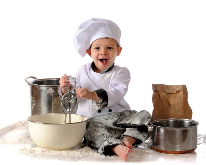 This little boy is having great time playing chef - you may not want to give your children the actual ingredients! Foodal.com