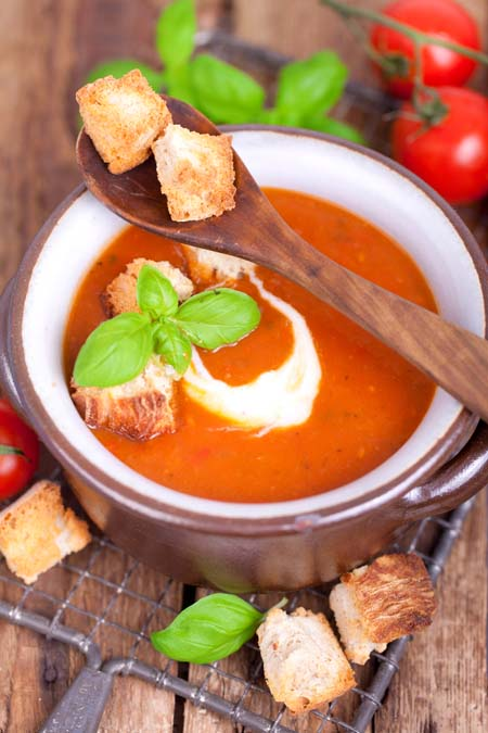 "Breand and Tomato Soup to serve as ""Antipasti"" 