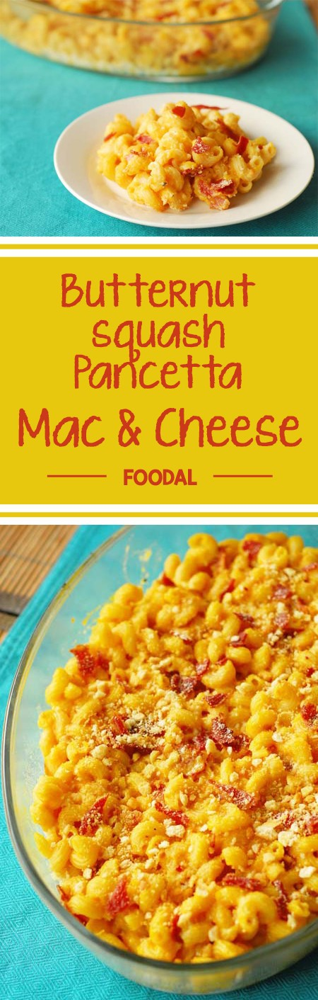Add a little fall flair to your normal comfort food by including a butternut squash puree and pork pancetta into your standard mac n cheese. Read how now. https://foodal.com/recipes/pasta/butternut-squash-pancetta-mac-cheese/