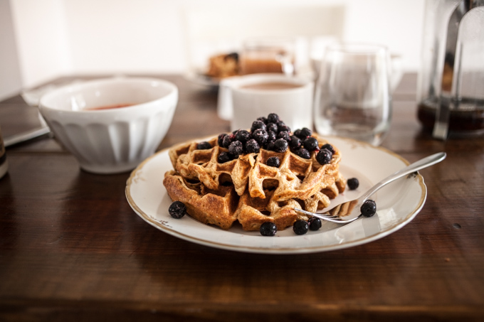 crisp and buttery einkorn waffles