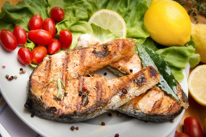 Use a George Foreman Grill to prepare fish fillets and salmon steaks quickly.