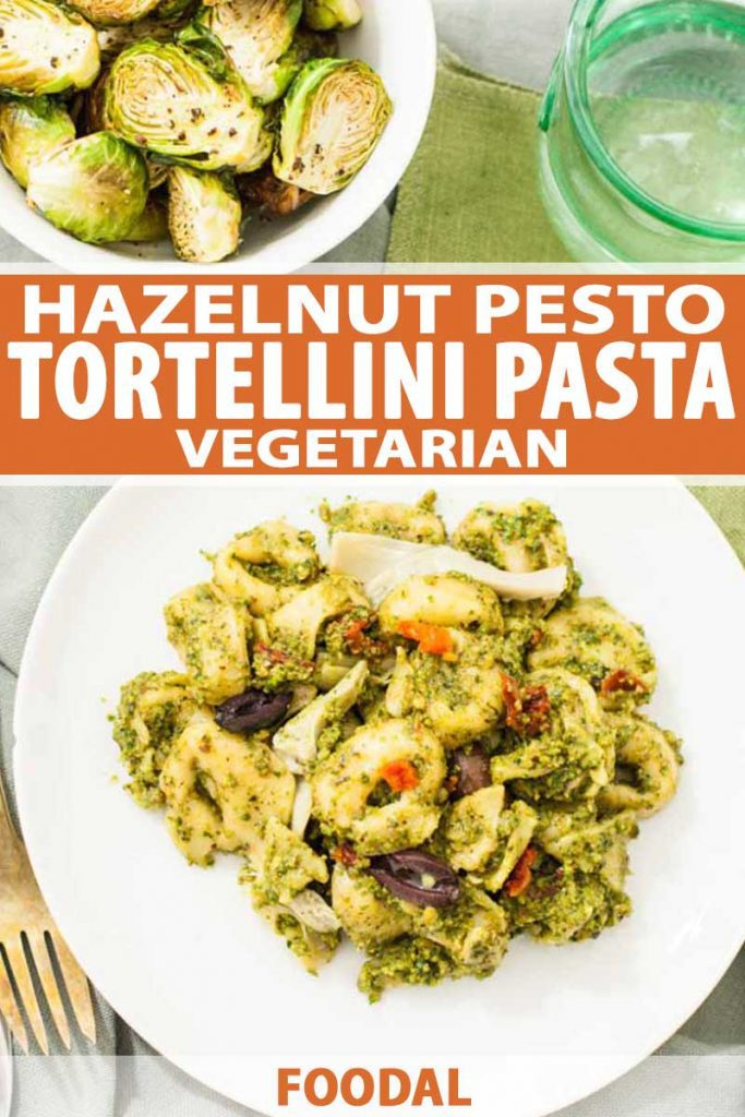 Top down view of vegetarian Hazelnut Pesto Tortellini Pasta recipe on a white, ceramic plate with a bowl of roasted Brussels sprouts.