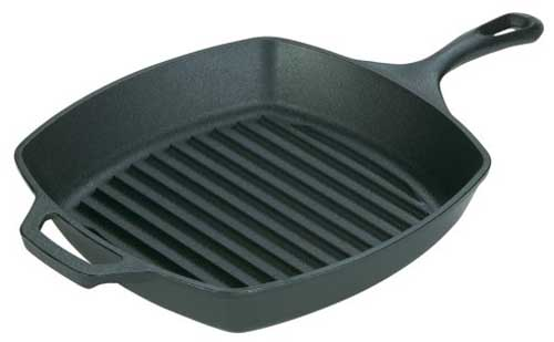 Lodge L8SGP3 Pre-Seasoned Cast-Iron Square Grill Pan 10.5-inch | Foodal.com
