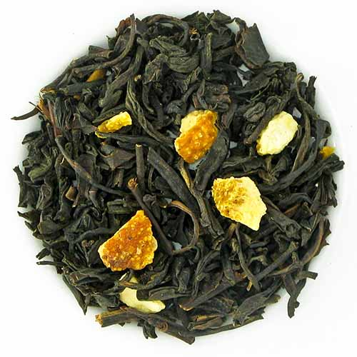 Prince Vladimir loose leaf black tea with citrus, isolated on a white background.