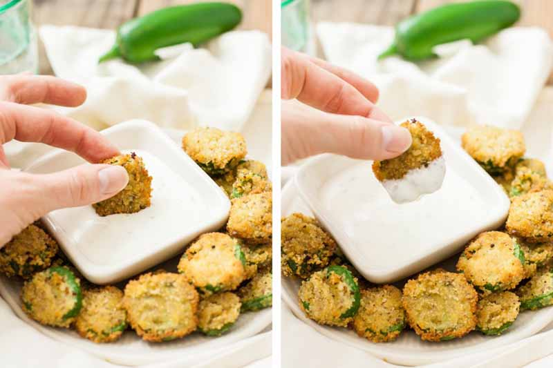 Horizontal images of a hand dipping an appetizer in sauce.