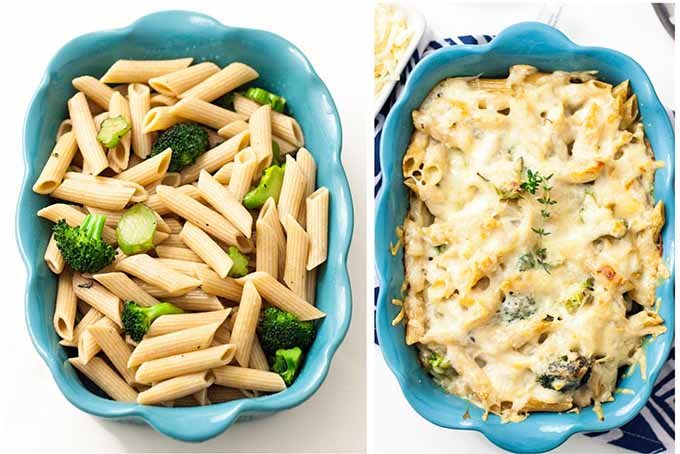 Photo collage with a before image on the left of a blue ceramic baking dish filled with cooked penne pasta and chopped broccoli, and finished on the right topped with melted Point Reyes Toma, on a white background.