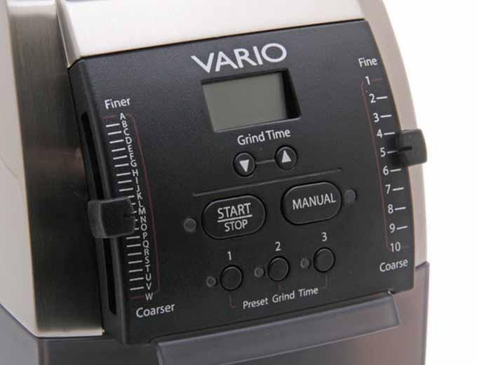 Baratza Vario Coffee Grinder controls closeup detail | Foodal.com