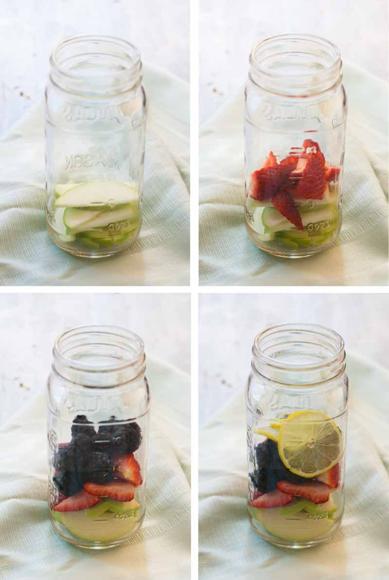 A collage of four photos showing different fruit and berries being added to mason jars to make sangria cocktails.