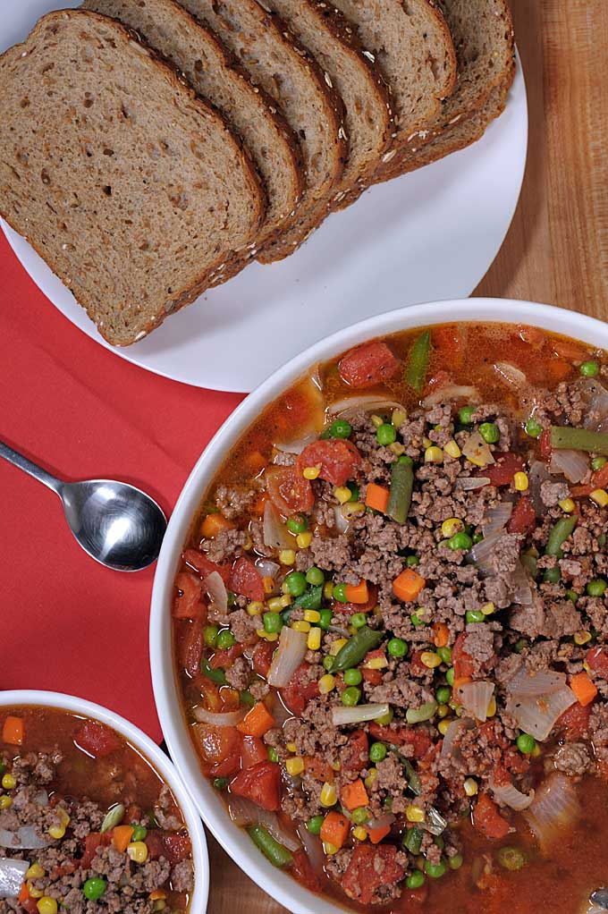 Do you have a large family or are you a fan of make-ahead meals? Try this healthy one pot hamburger soup recipe on Foodal now!