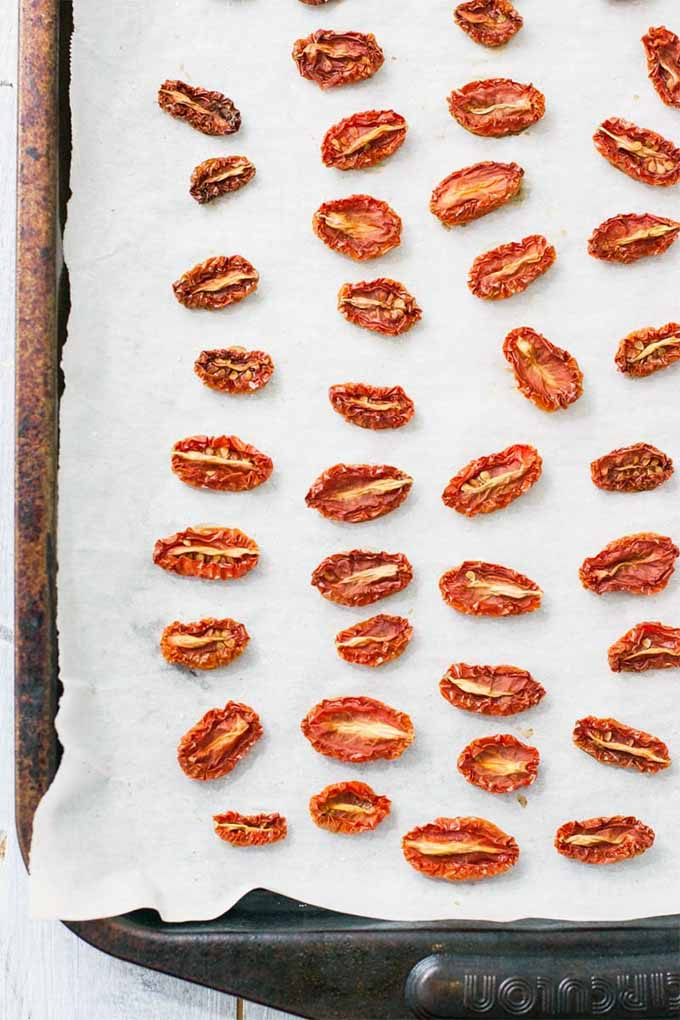 Top-down view of a metal baking sheet of shriveled just-baked oven-dried grape tomatoes arranged in rows on a white piece of parchment paper.