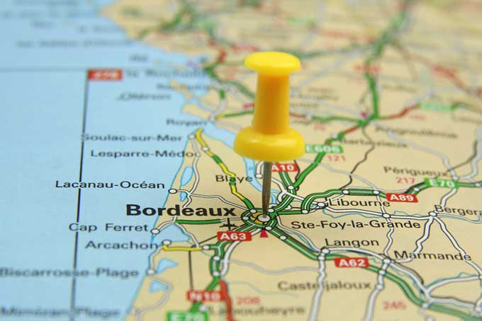 A map pinpointing the Bordeaux region of France | Foodal.com