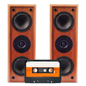 Cassette Tape and High Fi Speakers